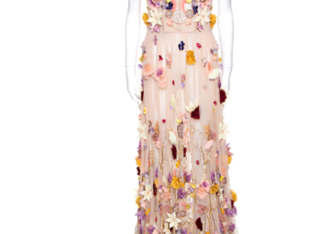 Dolce & Gabbana Pale Pink Embellished Floral Applique Tulle Corset Dress