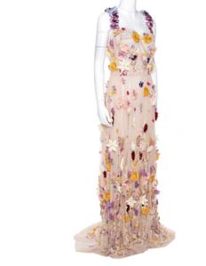 Dolce & Gabbana Pale Pink Embellished Floral Applique Tulle Corset Dress