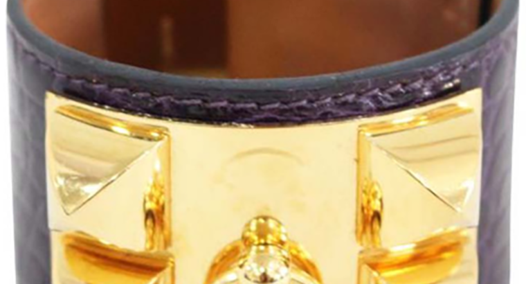 Hermes Collier De Chien Purple Croc Leather Gold Plated Cuff Bracelet