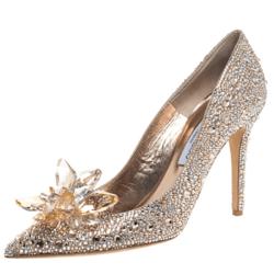 Jimmy Choo Gold Crystal Embellished Cinderella Pumps Size 40
