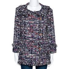 Chanel Navy Blue Tweed Embellished Closure Detail Jacket