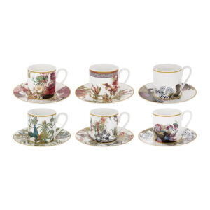 Flowers Espresso Cup & Saucer - Set of 6