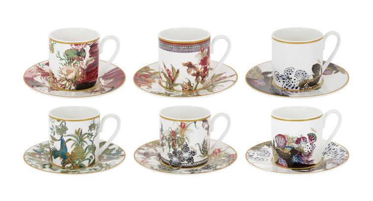 Flowers Espresso Cup & Saucer – Set of 6
