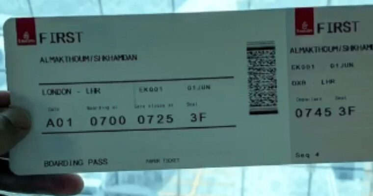 An Emirates ticket to London Heathrow with Sheikh Hamdan's name on it