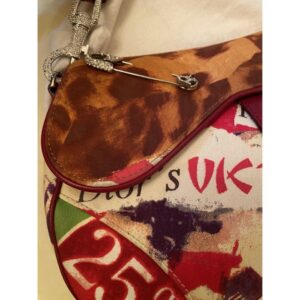 CHRISTIAN DIOR LIMITED EDITION MULTICOLOUR CANVAS VICTIM SADDLE for sale