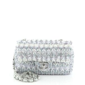 Chanel Classic Single Flap Bag Quilted Tweed and Ribbon Mini for sale