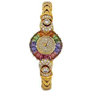 DeLaneau 18 Karat Yellow Gold Diamond and Multicolored Sapphires Bracelet Watch