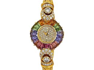 DeLaneau 18 Karat Yellow Gold Diamond Watch