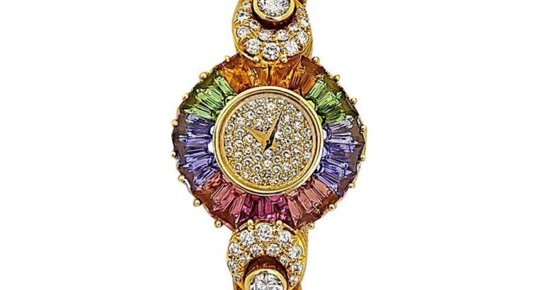 DeLaneau 18 Karat Yellow Gold Diamond Watch