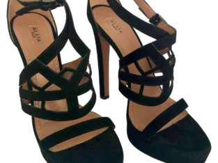 Pair of Alaïa Black Laser Cut Heel Sandals