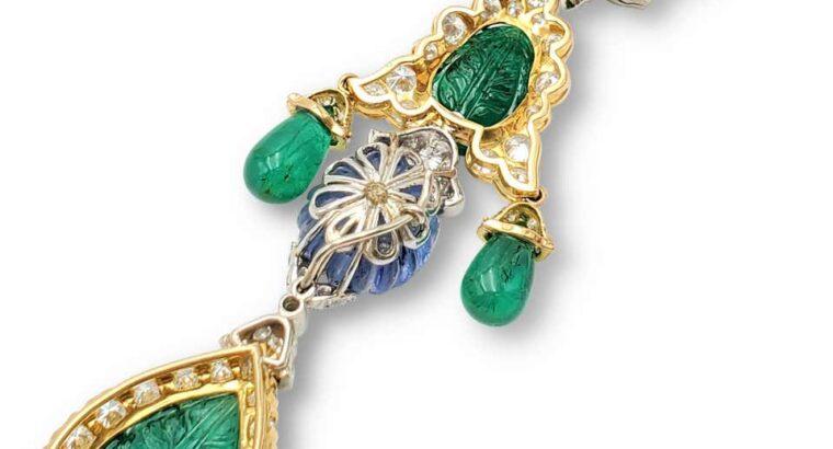 David Webb Girandole Diamond and Gemstone Earrings