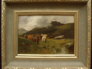 Fine 19th C. Monog. Oil On Panel Highland Cattle
