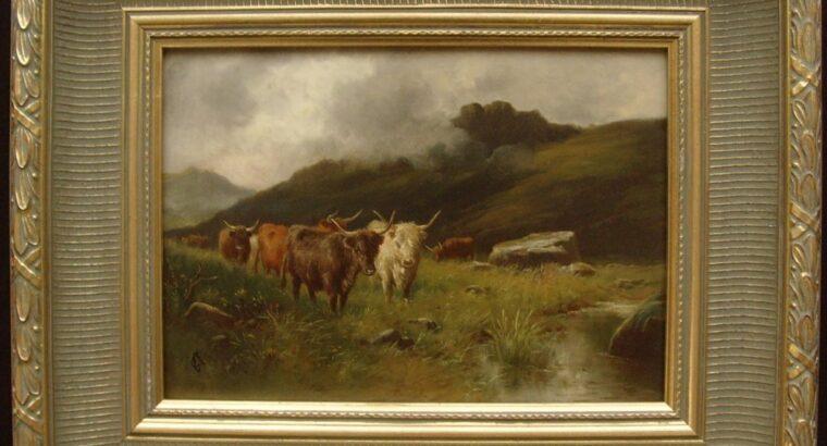 Fine 19th C. Monog. Oil On Panel Highland Cattle