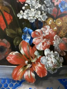 Pieter Casteels III 18TH CENTURY DUTCH FLORAL STILL LIFE WITH A CHINESE BOWL AND ORANGE DRAPERY 1720-1729