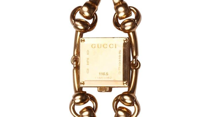 Gucci Tiger Eye Diamond 18 Karat Gold Watch