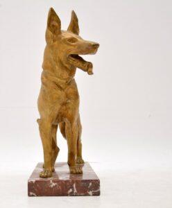 Large Antique Gilt Bronze Dog Sculpture by Robert Bousquet for sale
