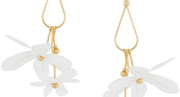 floral appliqué teardrop earrings