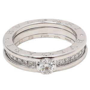 Bvlgari 18K White Gold Diamonds B Zero1 Solitaire Ring 52