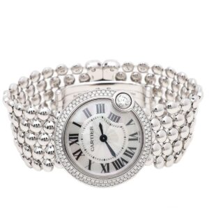 Cartier 18K White Gold Diamonds Ballon Blanc De Cartier 30mm Watch for sale