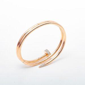 Cartier 18k Pink Gold Juste Un Clou Double w Diamond Bracelet 17 for sale