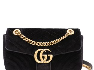 Gucci Black GG Velvet Small Shoulder Bag