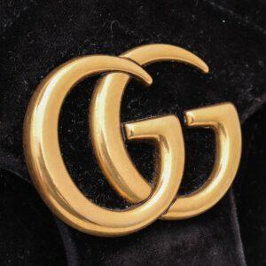 Gucci Black GG Velvet Marmont Small Shoulder Bag for sale