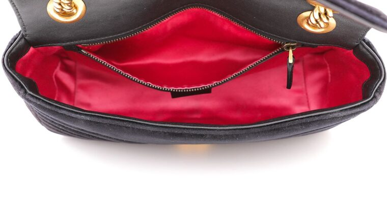 Gucci Black GG Velvet Small Shoulder Bag