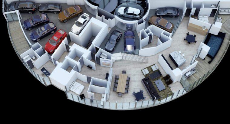 1800m2 3-storey apartment in Miami beach Florida
