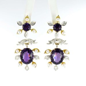 Spectacular Amethyst, Diamond and Pearl Suite in Yellow and White Gold for sale