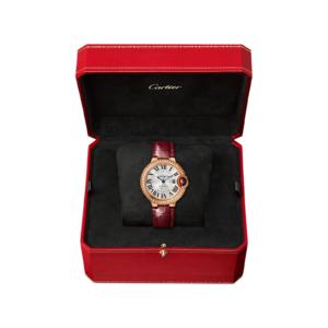 Cartier Ballon Bleu De Cartier Watch, 33 Mm, Pink Gold, Diamonds, Leathe
