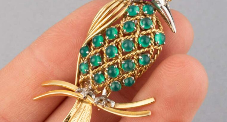 Gold Ruby Diamonds Bird Brooch