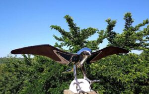 "Lutfi Romhein ""Falcon"", Monumental Bird Figurative Stainless Steel Sculpture on Marble Base"