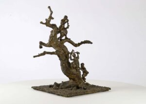 Marine de Soos Tree With Children, Bronze sculpture 21st Century