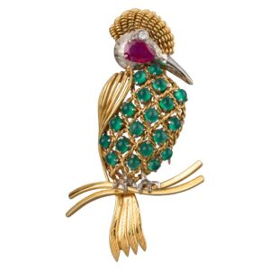 Gold Ruby Diamonds and Agate Vintage Bird Brooch for sale
