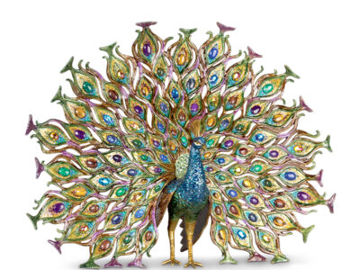 Stanton Fan Tail Peacock Figurine by Jay Strongwater