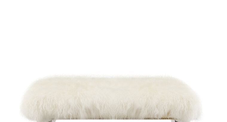 Centaur White Sheepskin Bench | Massoud