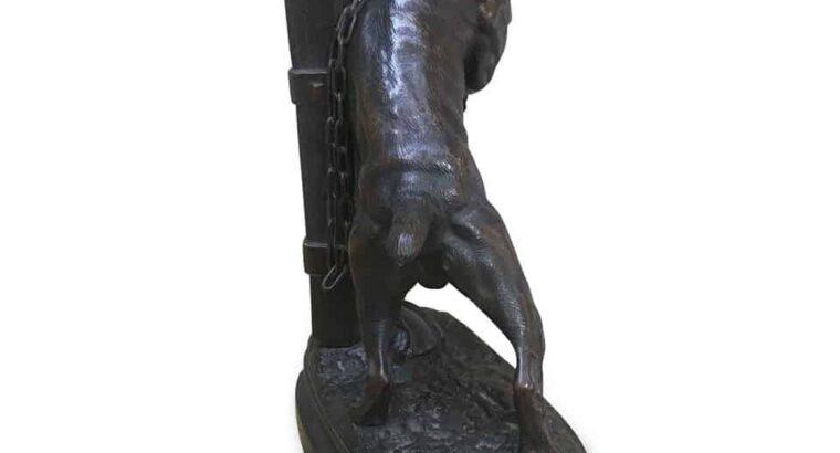 BRONZE DOG SCULPTURE BY PROSPER LECOURTIER 1878