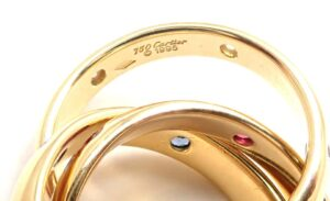 Cartier Trinity Ruby Sapphire Diamond Yellow Gold Band Ring for sale