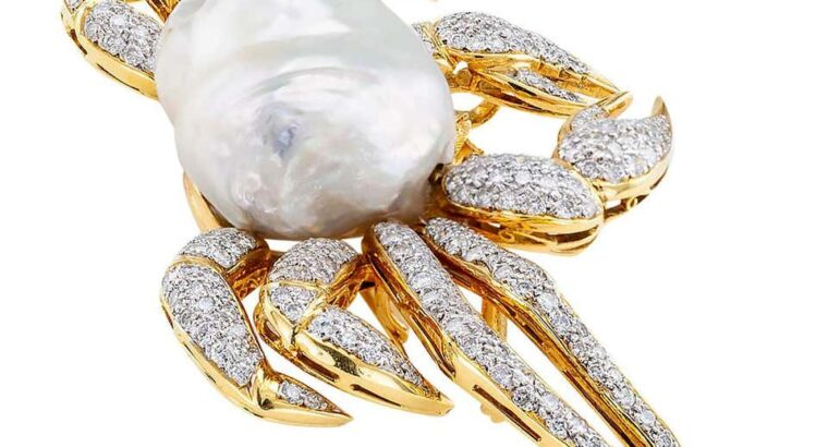 King Crab Diamond Freshwater Pearl Gold Brooch