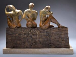 """Monica Wyatt """"Three Sisters"""" Bronze Sculpture of three sisters sitting on a brick wall 2020 for sale"""