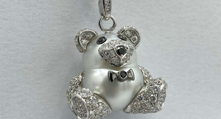 Teddy Bear Diamond 18 Karat Gold Necklace