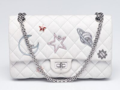 CHANEL Silver 2.55 Canvas Reissue Space Charms 226 Flap Bag