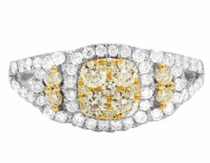 4K White Gold Natural Yellow Diamond Cluster Ladies Engagement Ring