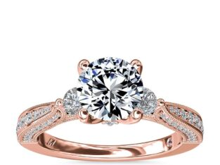 Monique Lhuillier Realeza Diamond Engagement Ring in18k Rose Gold
