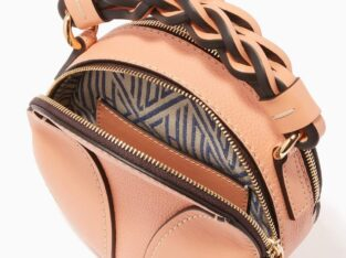 Chloé Mini Daria Round Bag in Grained & Shiny Calfskin