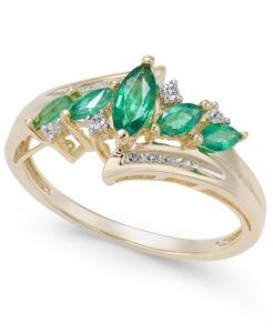 Emerald (1/2 ct. t.w.) & Diamond (1/10 ct. t.w.) in 14k Gold Ring