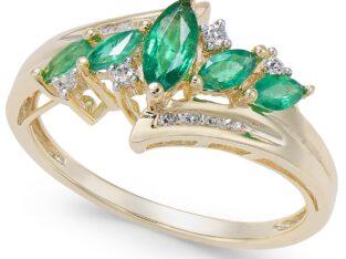 Emerald & Diamond in14k Gold Ring