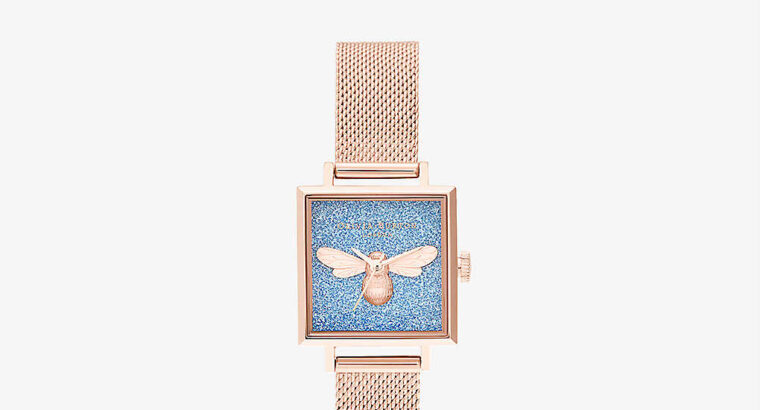 OLIVIA BURTON glitter-embellished gold watch