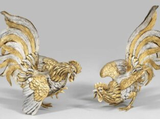 "Elegant Pair of sculptures ""fighting cocks"""