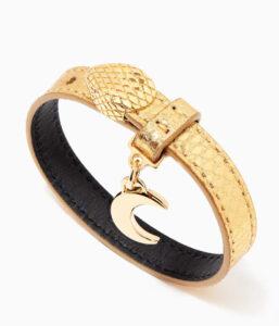 BVLGARI Serpenti Forever Bracelet in Metallic Karung Leather